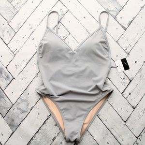 La Hearts Silver One Piece Swimsuit